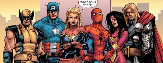 Lobezno, Capitán América, Capitana Marvel, Spider-Man, Spider-Woman y Thor en los cómics de Marvel