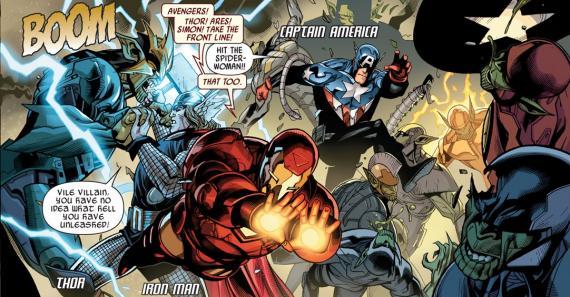Interior del cómics estadounidense Secret Invasion #7, dibujo por Leinil Francis Yu