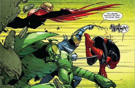 Interior del cómics estadounidense Avenging Spider-Man #11, dibujo por Giuseppe Camuncoli. Buitre, Escorpión y Bumerang