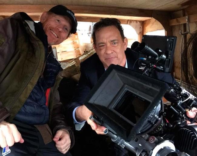 Tom Hanks y Ron Howard en el rodaje de Inferno