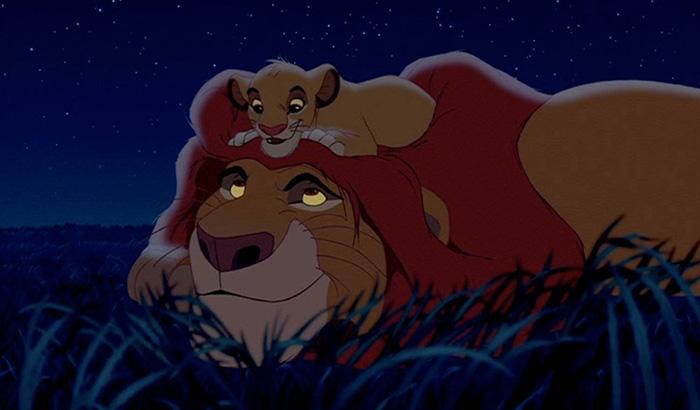 Simba y Mufasa en la película de El Rey León de acción real