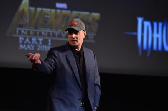 Kevin Feige durante el anuncio de la Fase Tres de Marvel Studios (octubre de 2014)