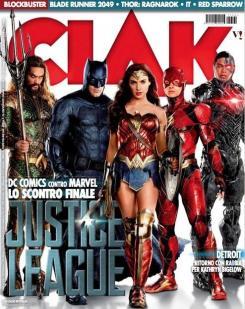 Portada de la revista italiana CiAK con Liga de la Justicia (2017)