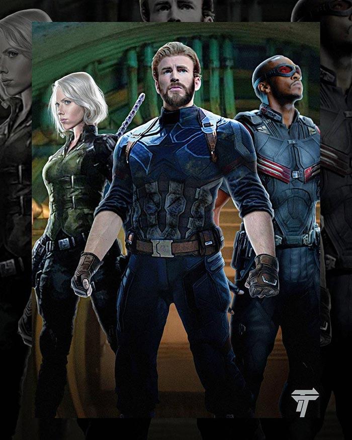 Capitán América, Viuda Negra y Falcon en Vengadores: Infinity War (2018)