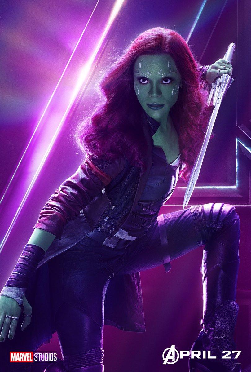 Zoe Saldana es Gamora en Vengadores: Infinity war