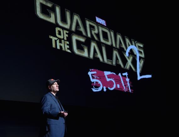 Kevin Feige habla de Guardianes de la Galaxia 2 (2017) durante el anuncio de la Fase Tres de Marvel Studios (octubre de 2014)