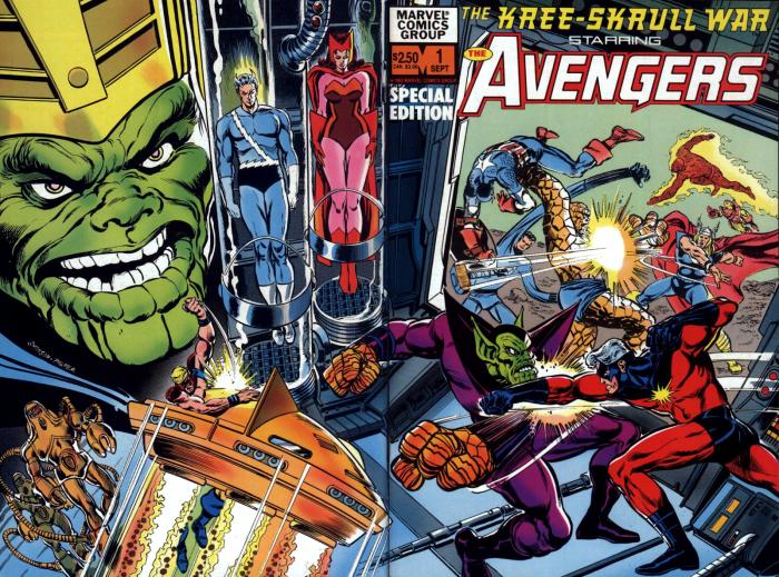 Imagen de la guerra Kree-Skrulls en los cómics de los Vengadores